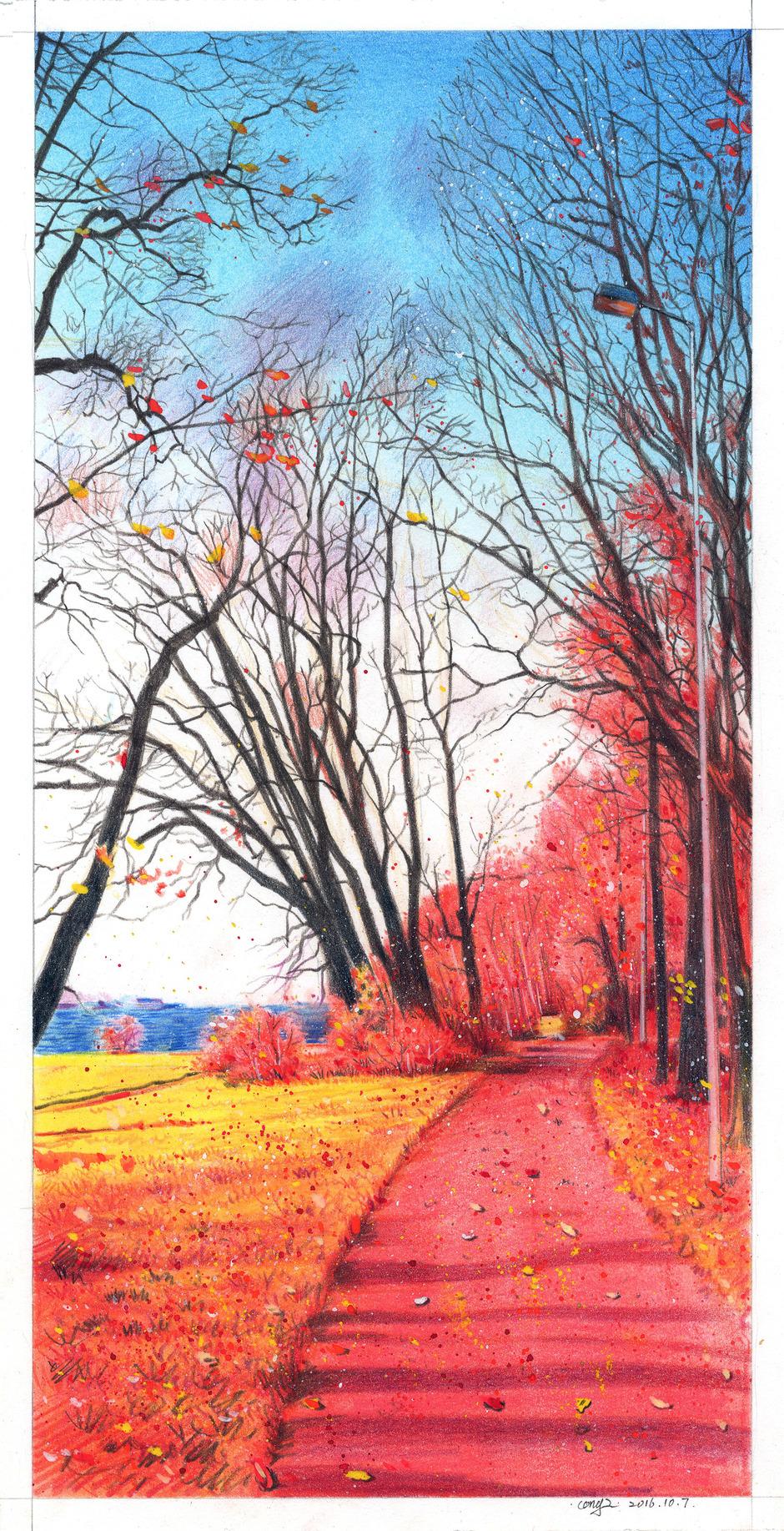 彩铅结合色粉手绘风景画
